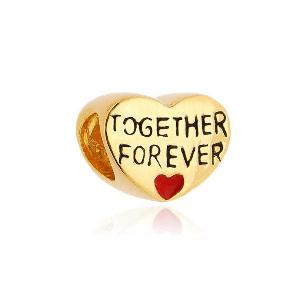 Berloque Coração Juntos Para Sempre Dourado