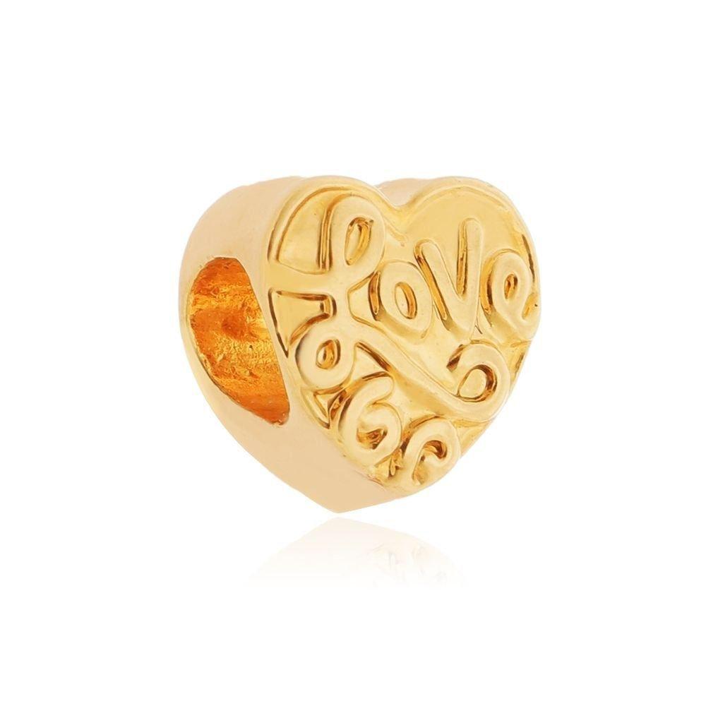 Berloque Coração Love Dourado