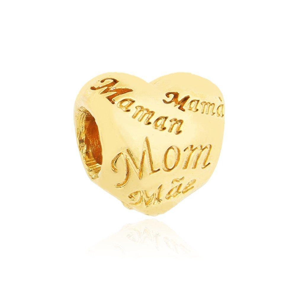 Berloque Coração Mãe Dourado