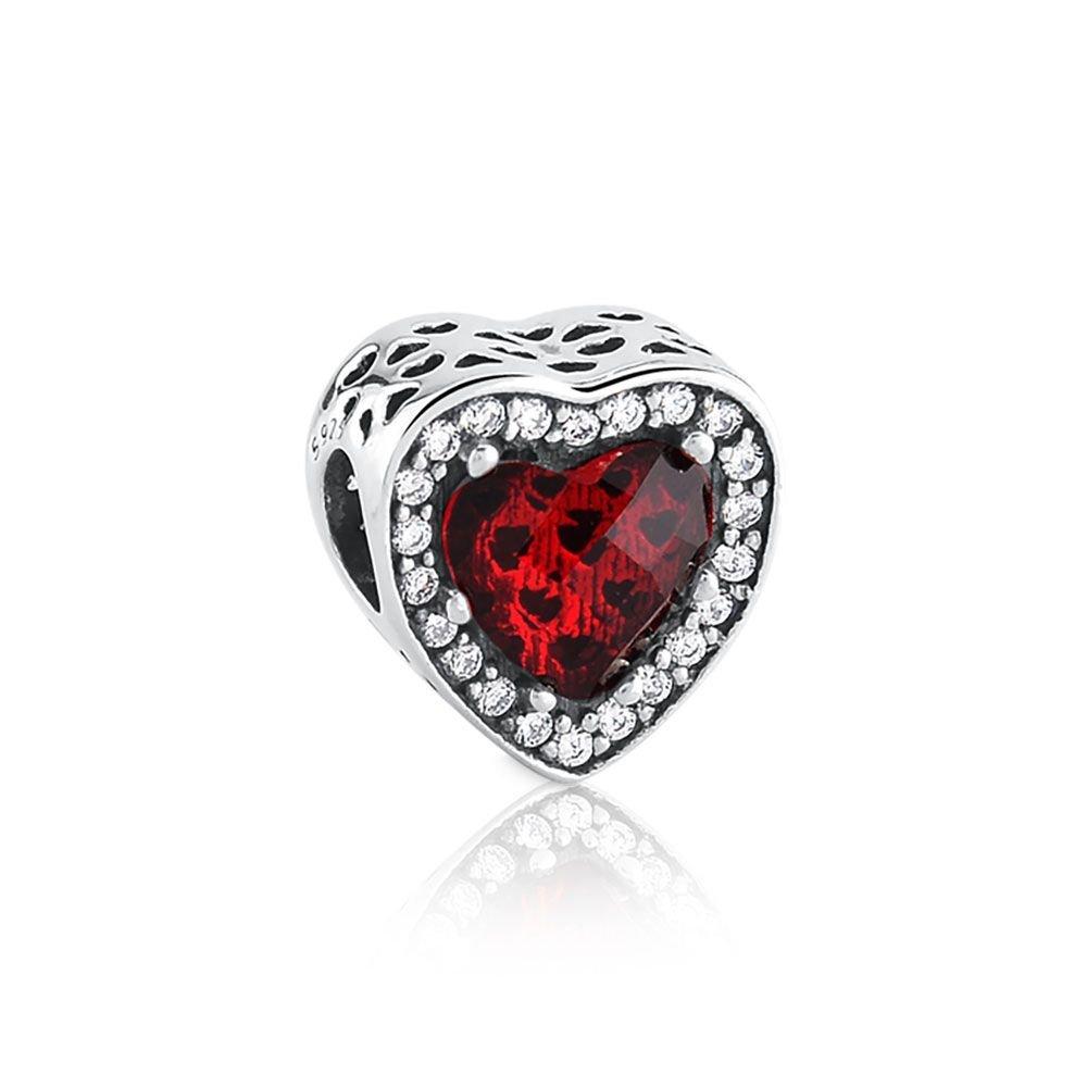 Berloque Coração Maxi Zircônia Vermelho