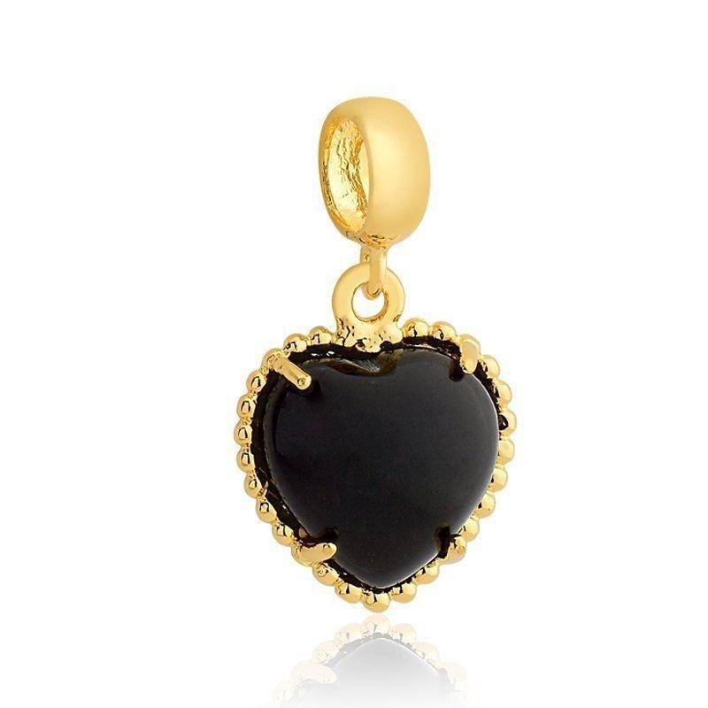 Berloque Coração Obsidiana Dourado