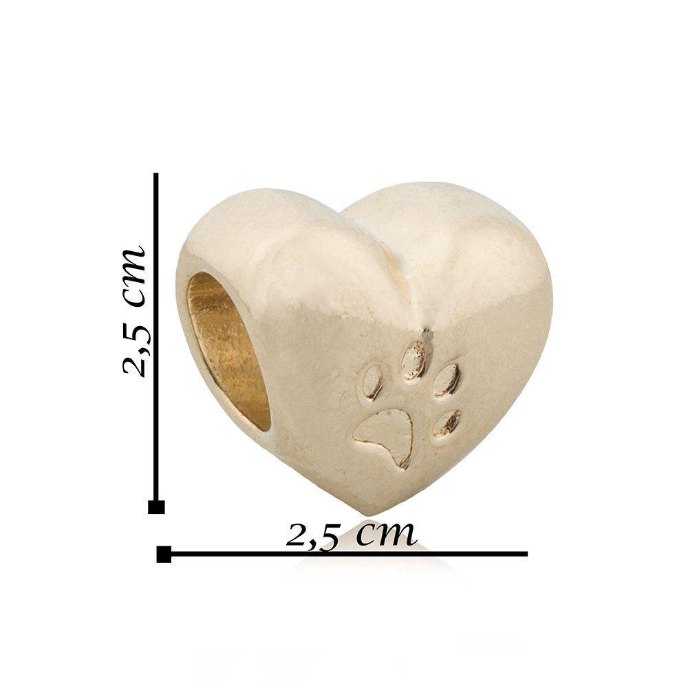 Berloque Coração Patinha Dourado