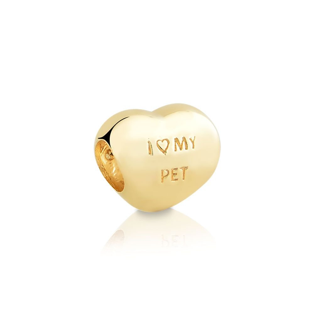 Berloque Coração Patinha Zircônias Dourada
