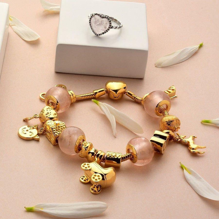 Berloque Coração Patinhas com Osso Dourado