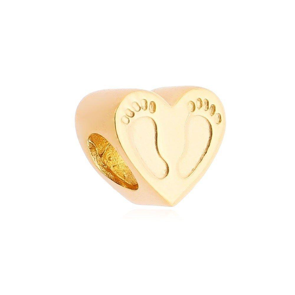 Berloque Coração Pezinho Dourado