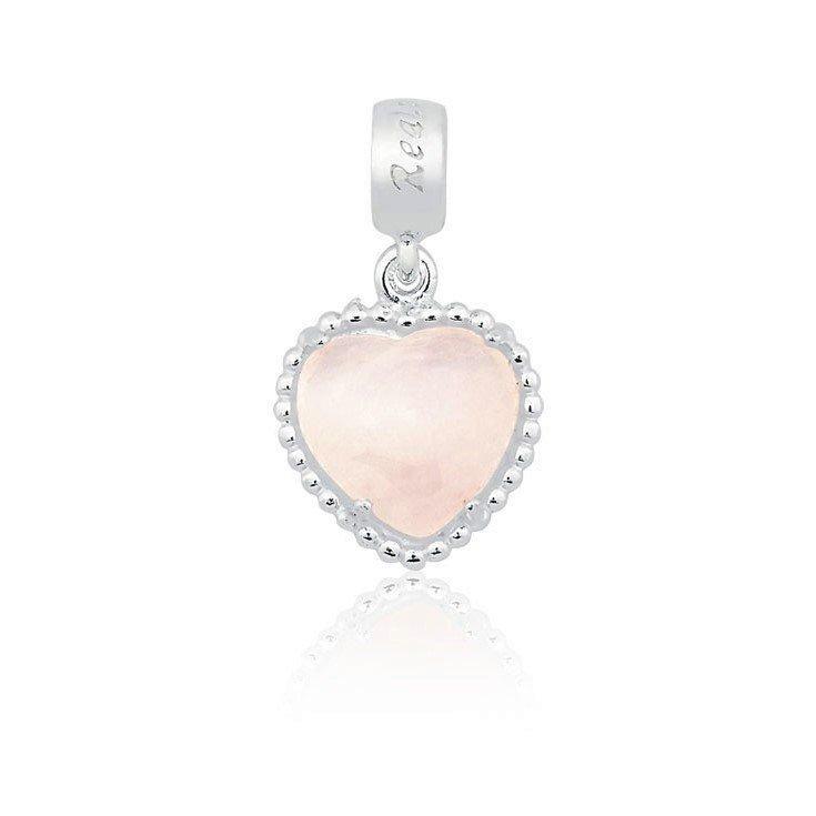 Berloque Coração Quartzo Rosa