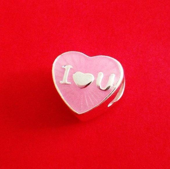 Berloque Coração Rosa I Love