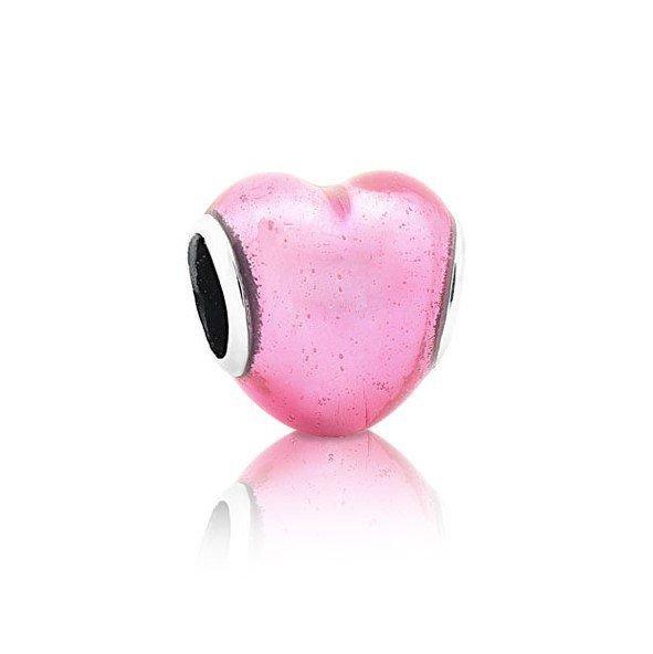 Berloque Coração Rosa Metalizado