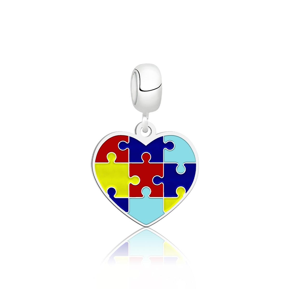 Berloque Coração Símbolo do Autismo