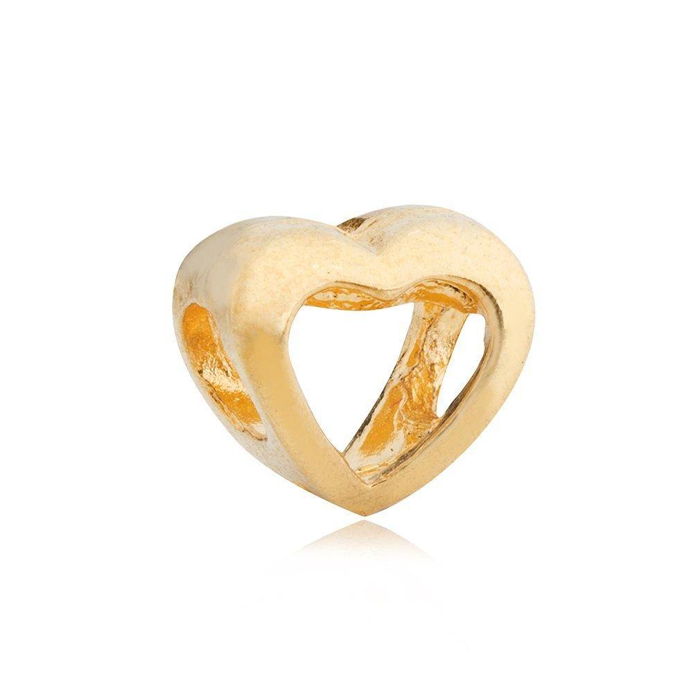 Berloque Coração Vazado Dourado