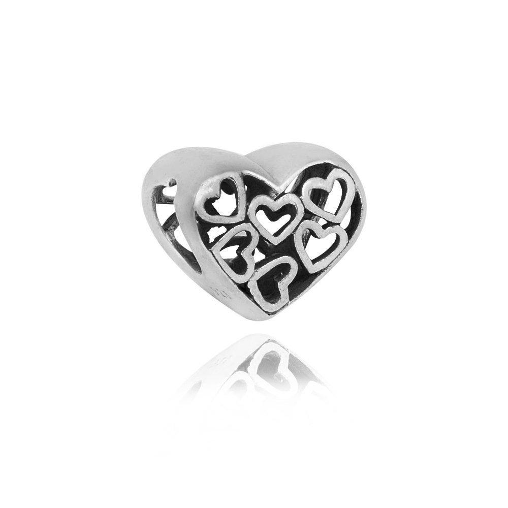 Berloque Coração Vazado Prata