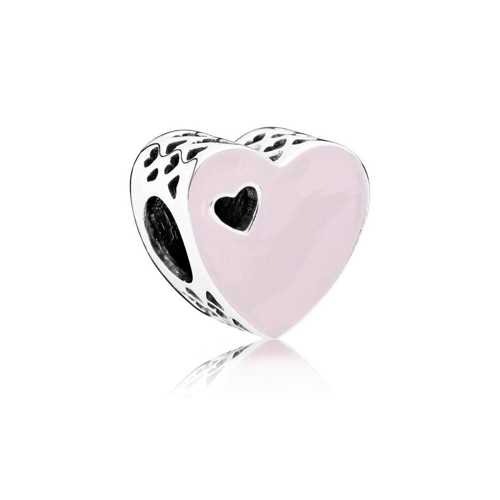 Berloque Coração Vazado Rosa