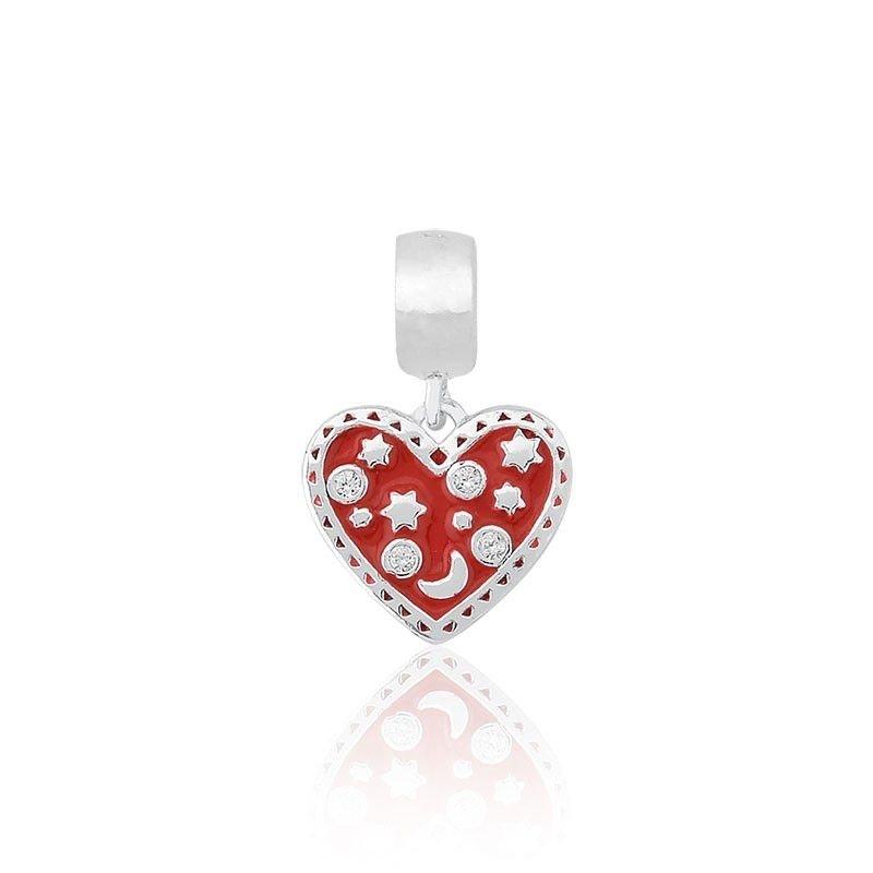 Berloque Coração Vermelho Estelar