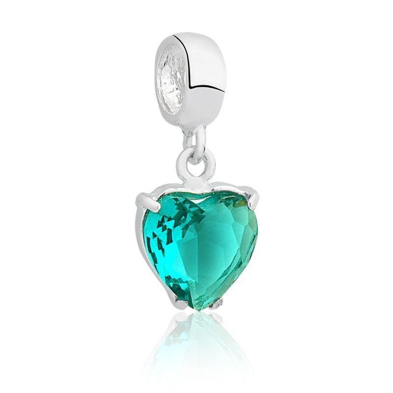 Berloque Coração Zircônia Verde Água