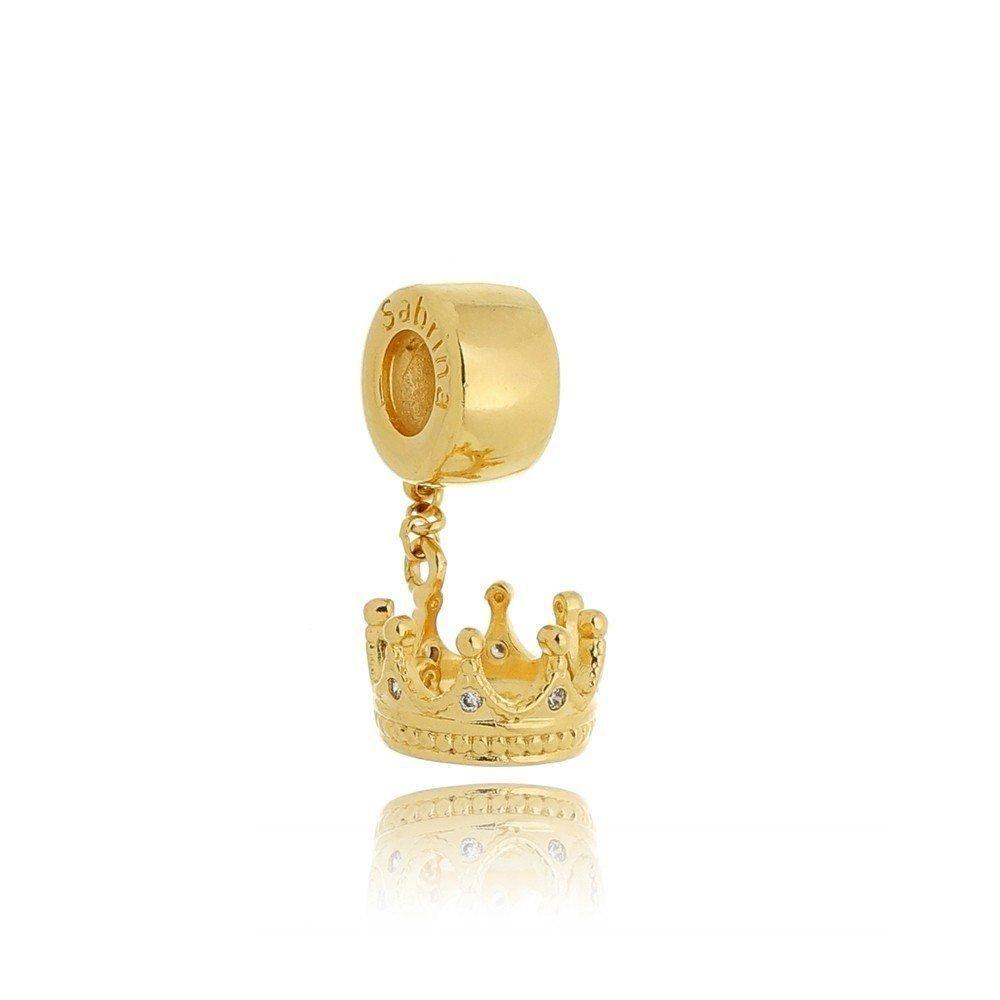 Berloque Coroa Dourada com Zircônias