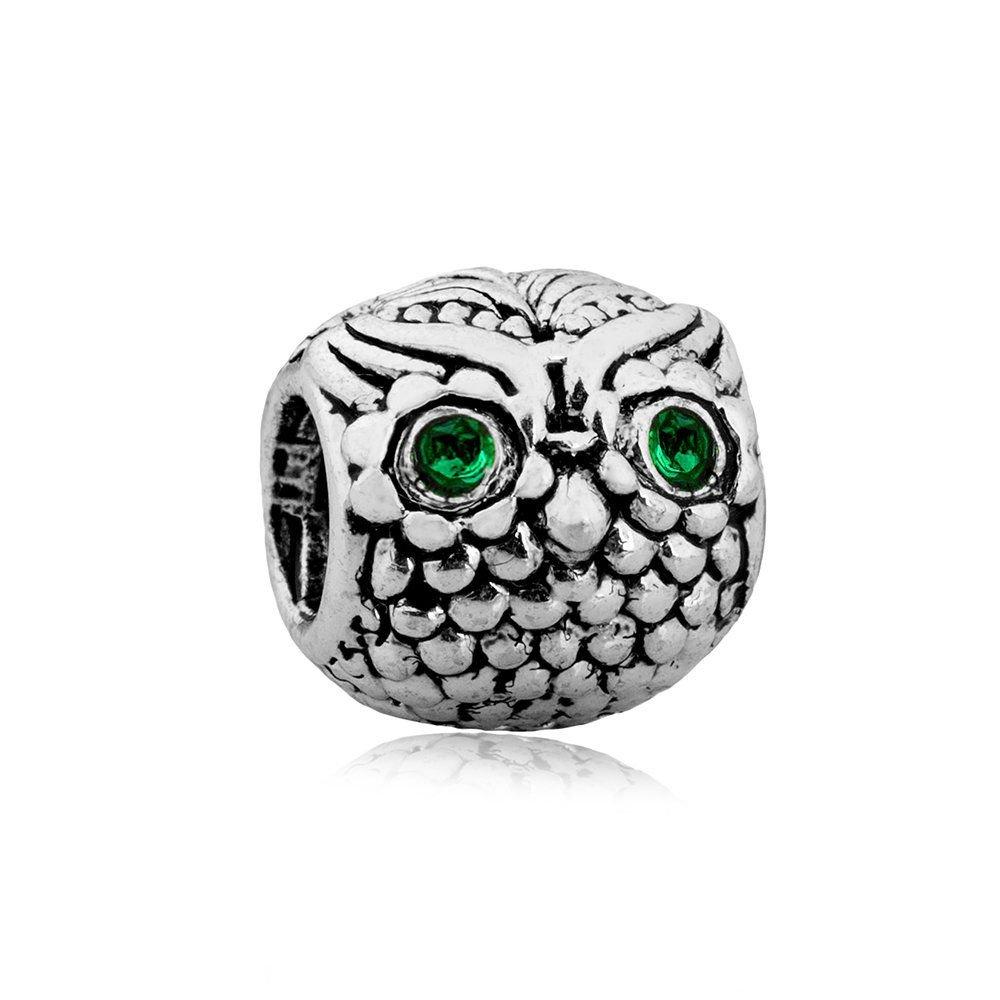 Berloque Coruja Olhos Verdes
