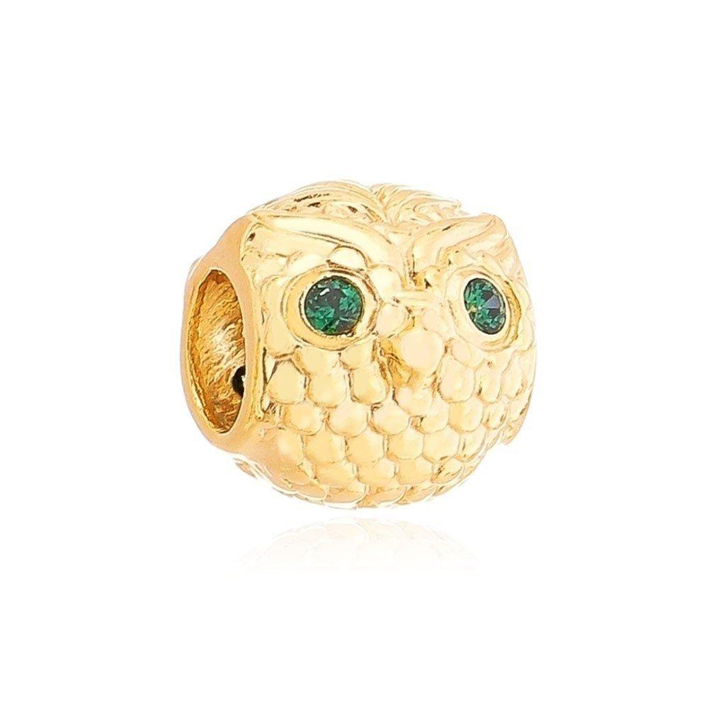 Berloque Coruja Olhos Verdes Dourada