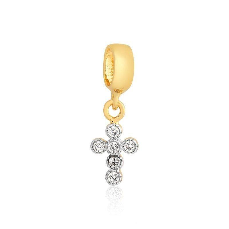 Berloque Cruz Bolinhas de Zircônia Dourada