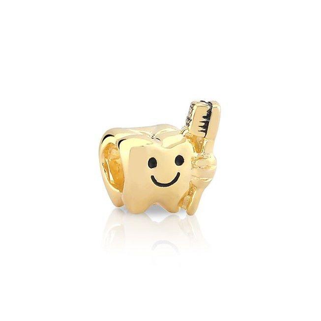 Berloque dente com Escova Dourado