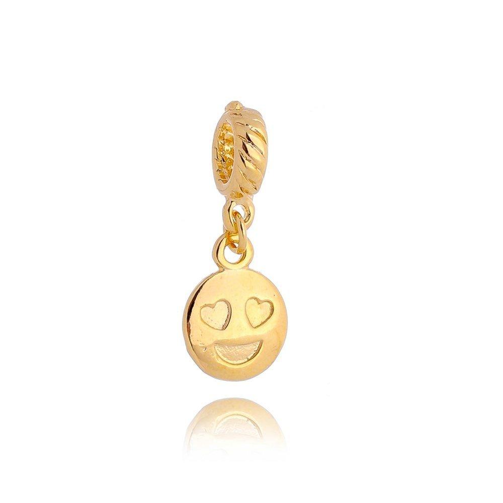 Berloque Emoticon Apaixonado Dourado