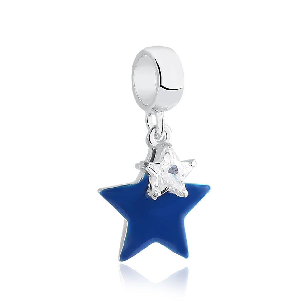 Berloque Estrelas Azul e Zircônia