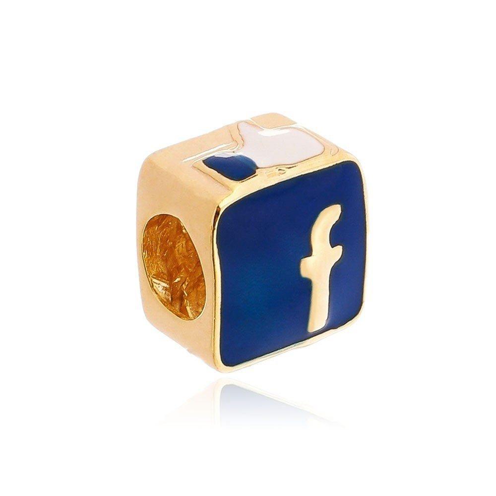 Berloque Facebook Dourado