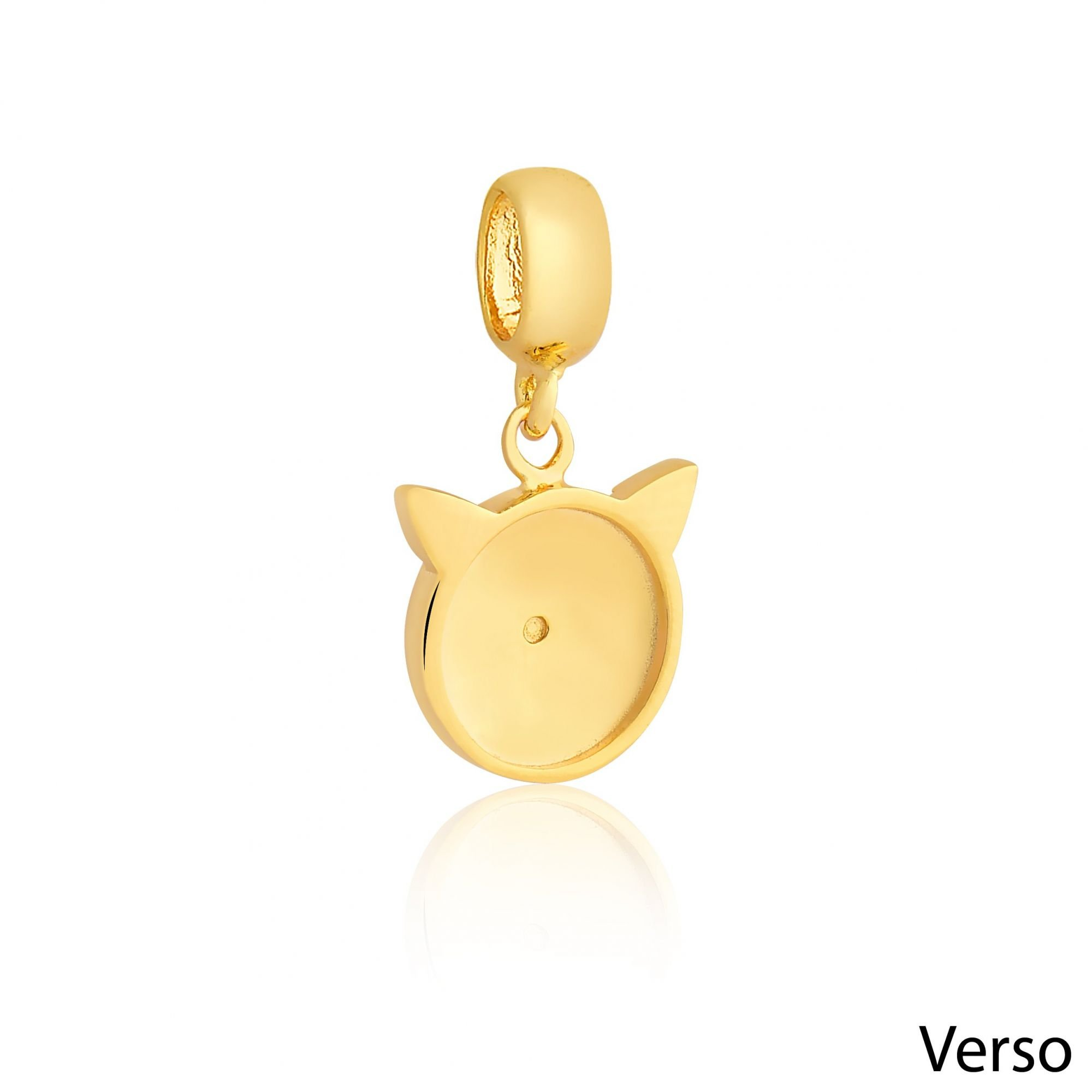 Berloque Gatinho Feliz Dourado