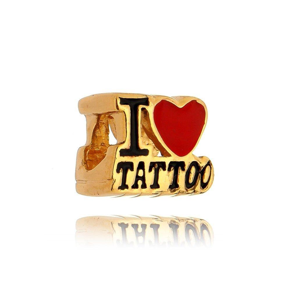 Berloque I Love Tattoo Dourado