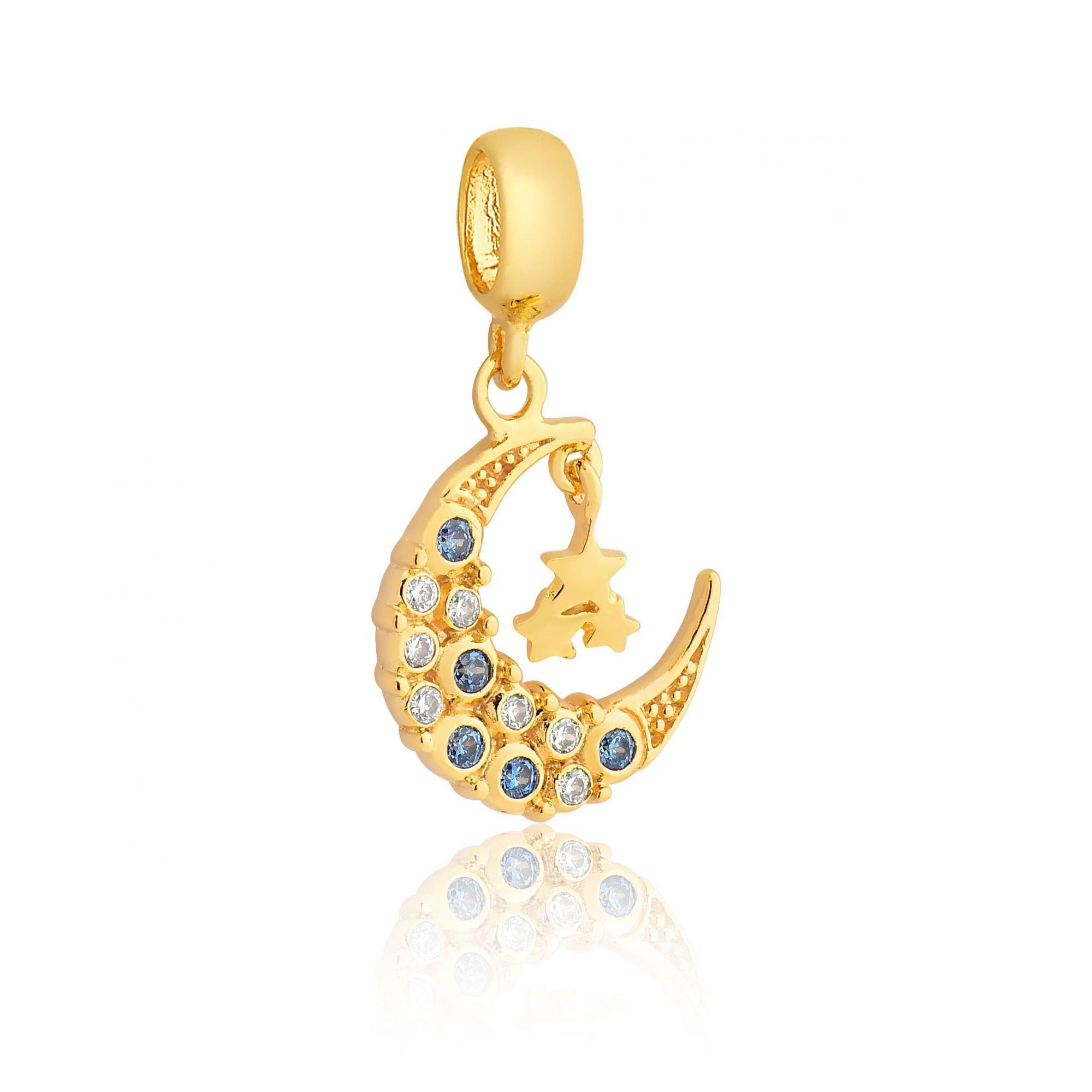 Berloque Lua E Estrelas Dourada