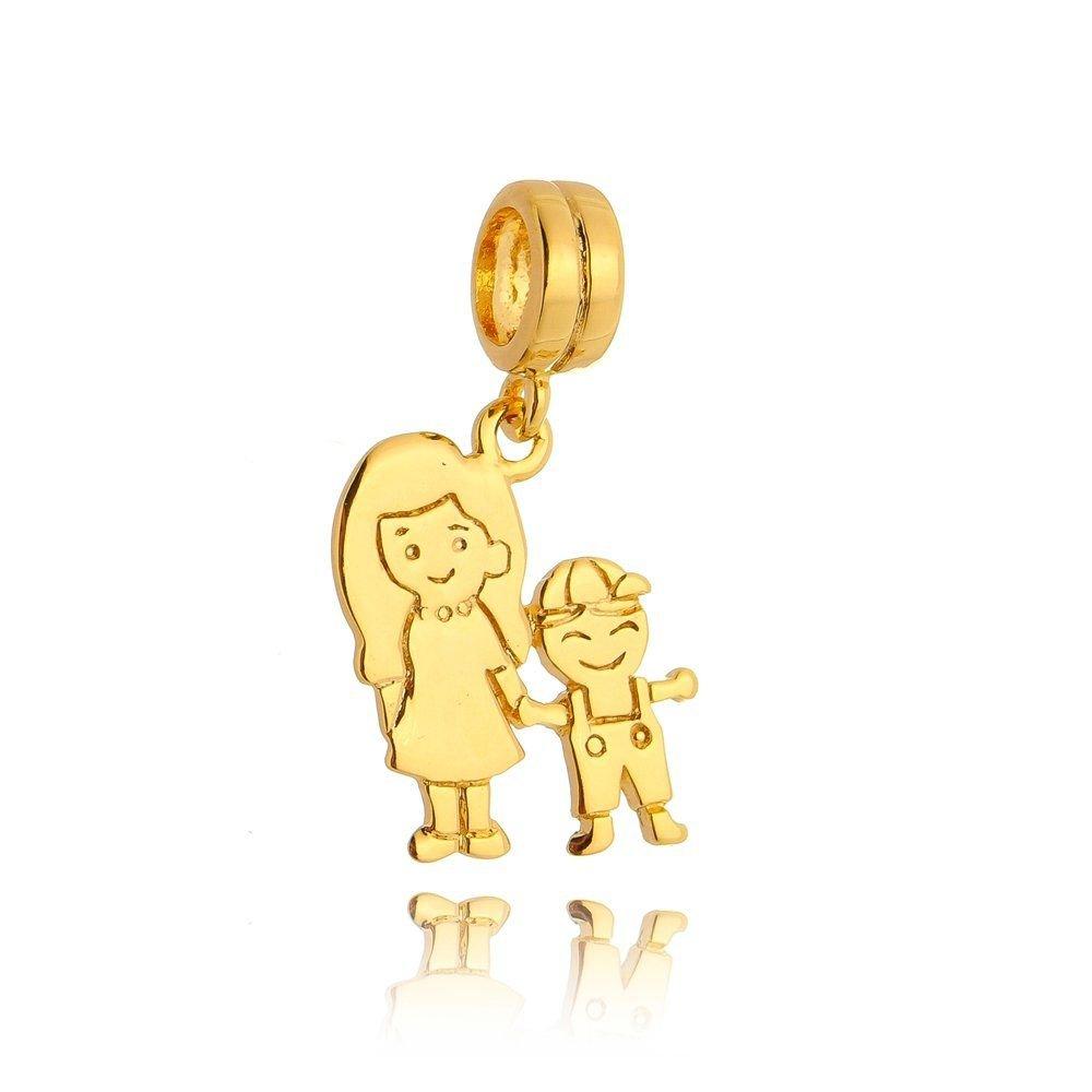 Berloque Mãe E Filho Dourado