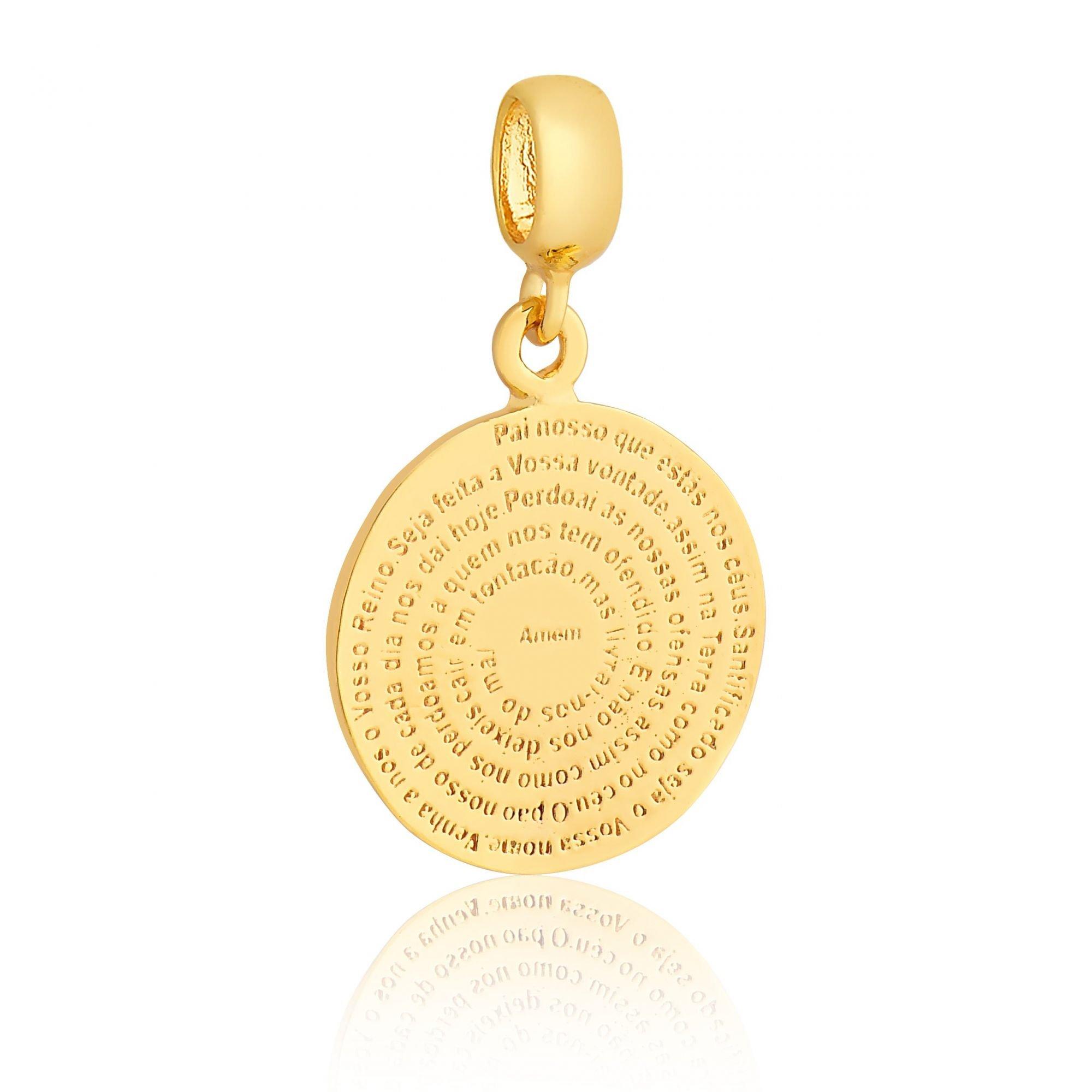 Berloque Medalhinha Dourada Oração Pai Nosso