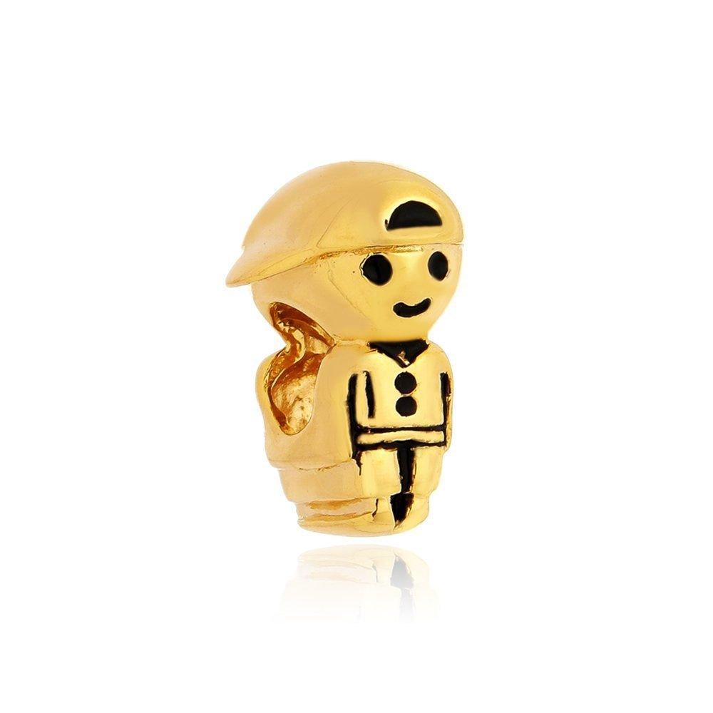 Berloque Menino com Boné Dourado