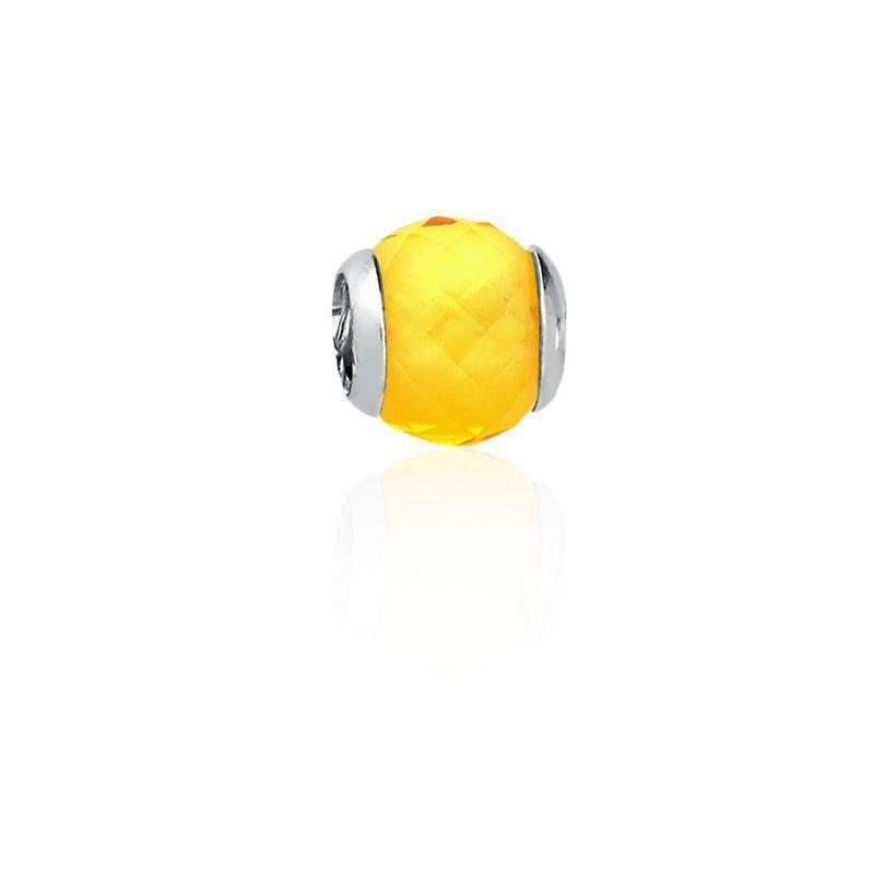 Berloque Mini Separador Facetado Amarelo