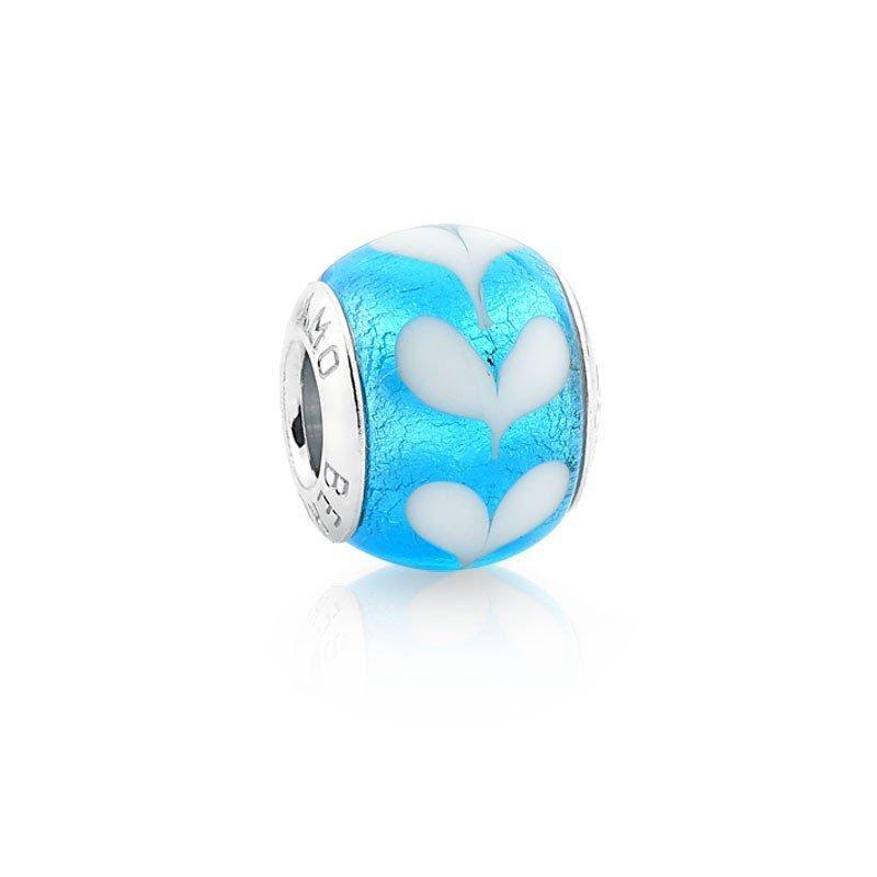 Berloque Murano Azul Claro Pétalas