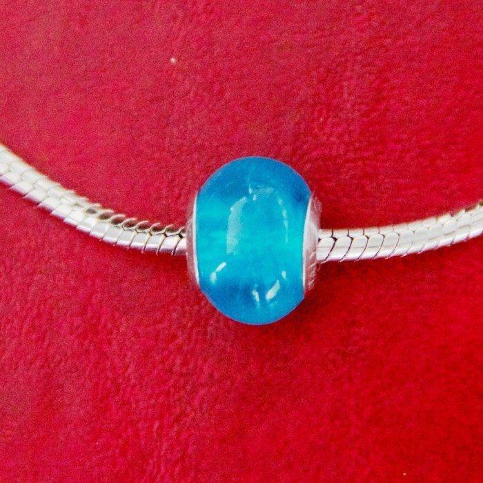 Berloque Murano Azul Claro Transparente