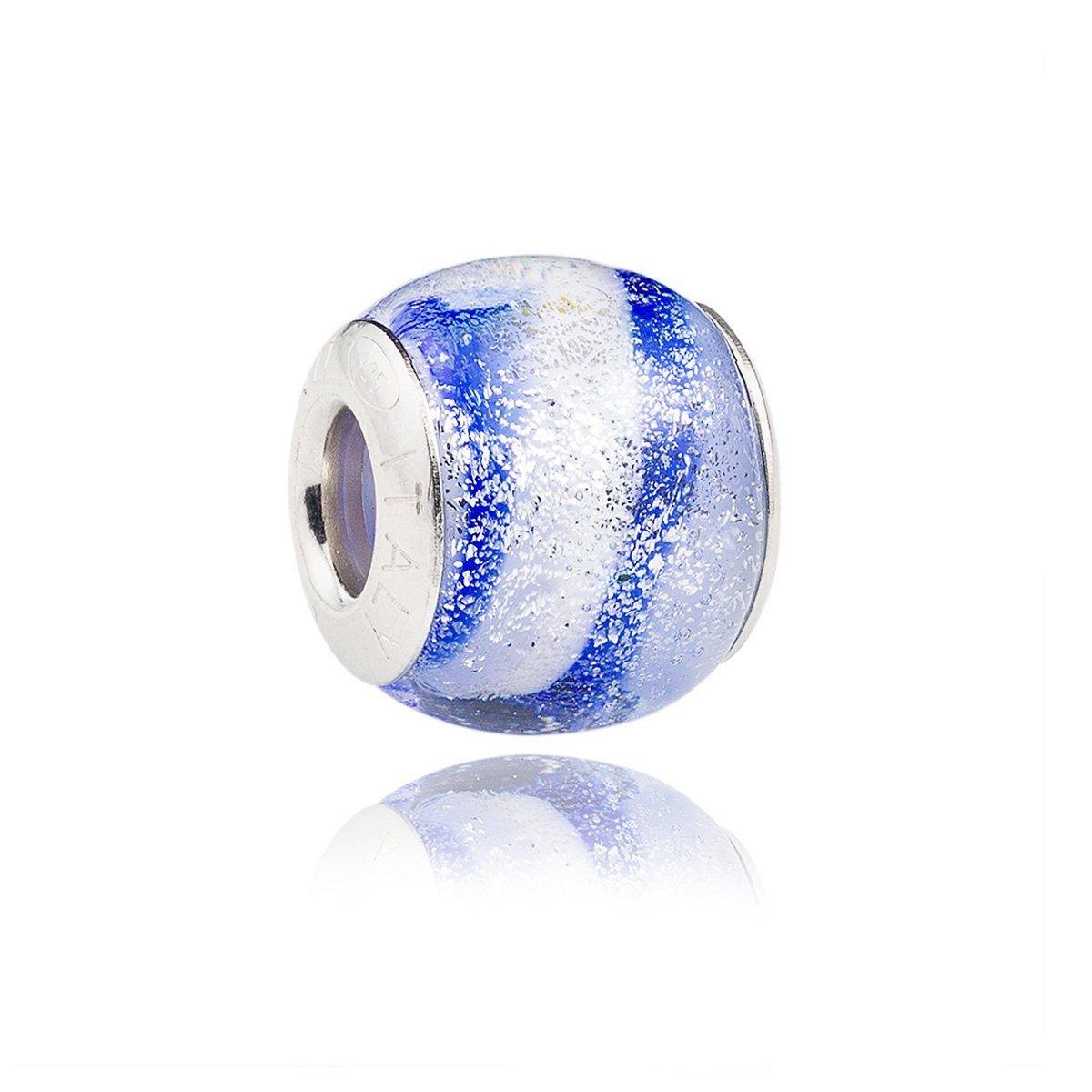 Berloque Murano Azul e Branco Brilhos