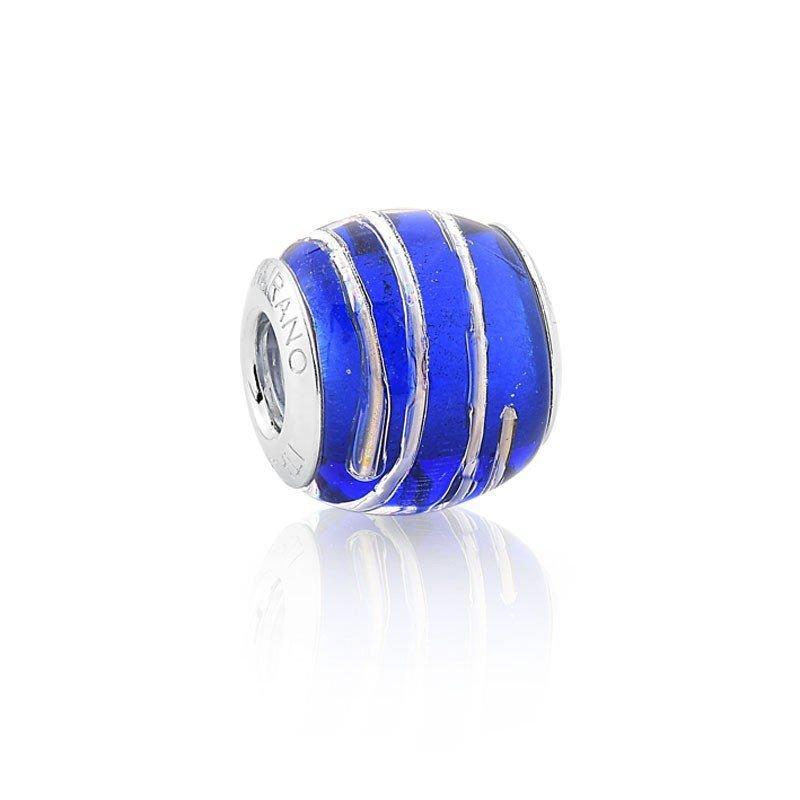Berloque Murano Azul Fio Prata