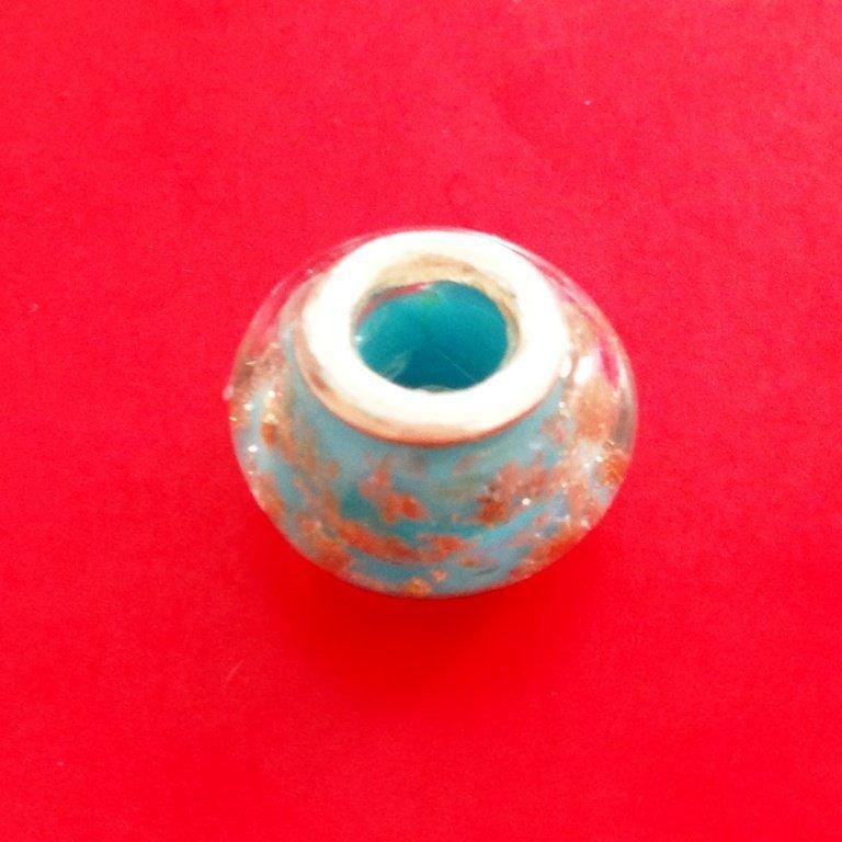 Berloque Murano Azul Glíter