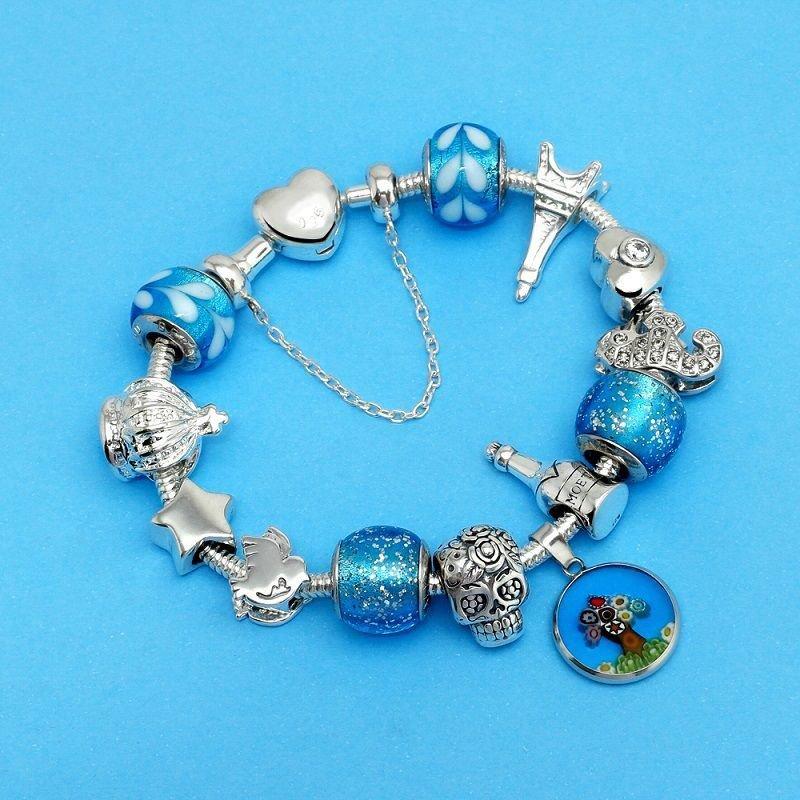 Berloque Murano Azul Glitter