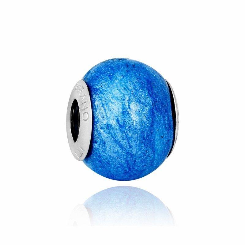 Berloque Murano Azul Perolizado