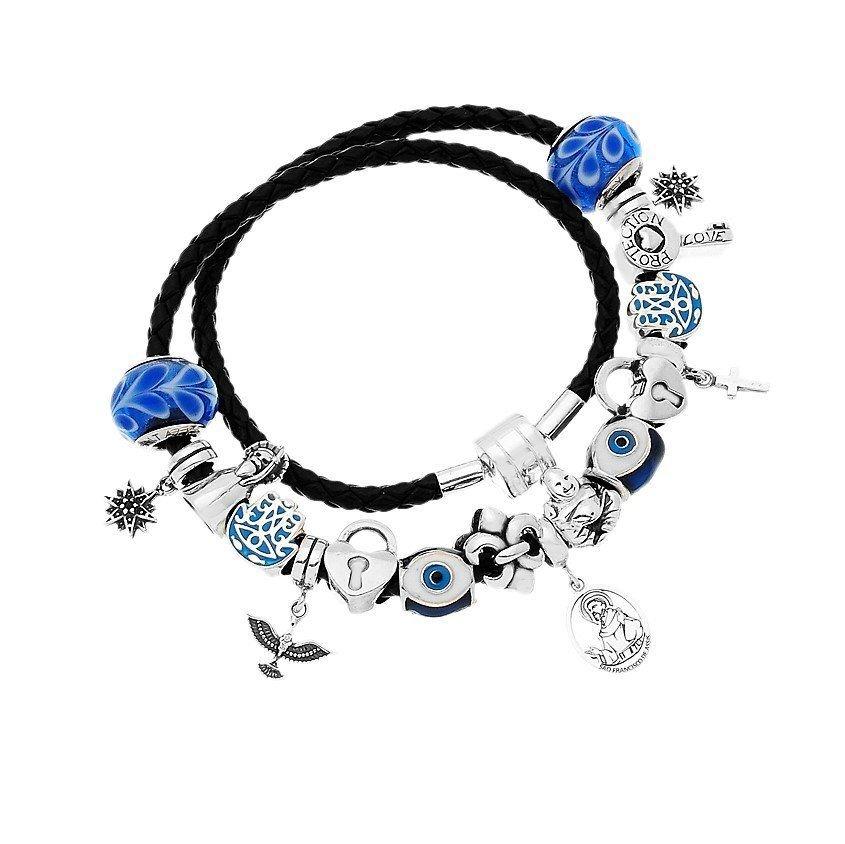 Berloque Murano Azul Pétalas