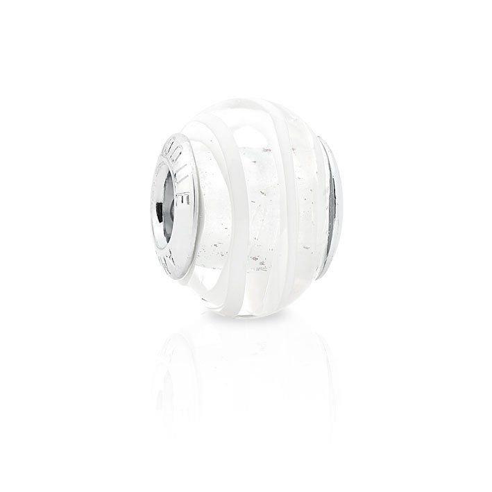 Berloque Murano Branco Transparente