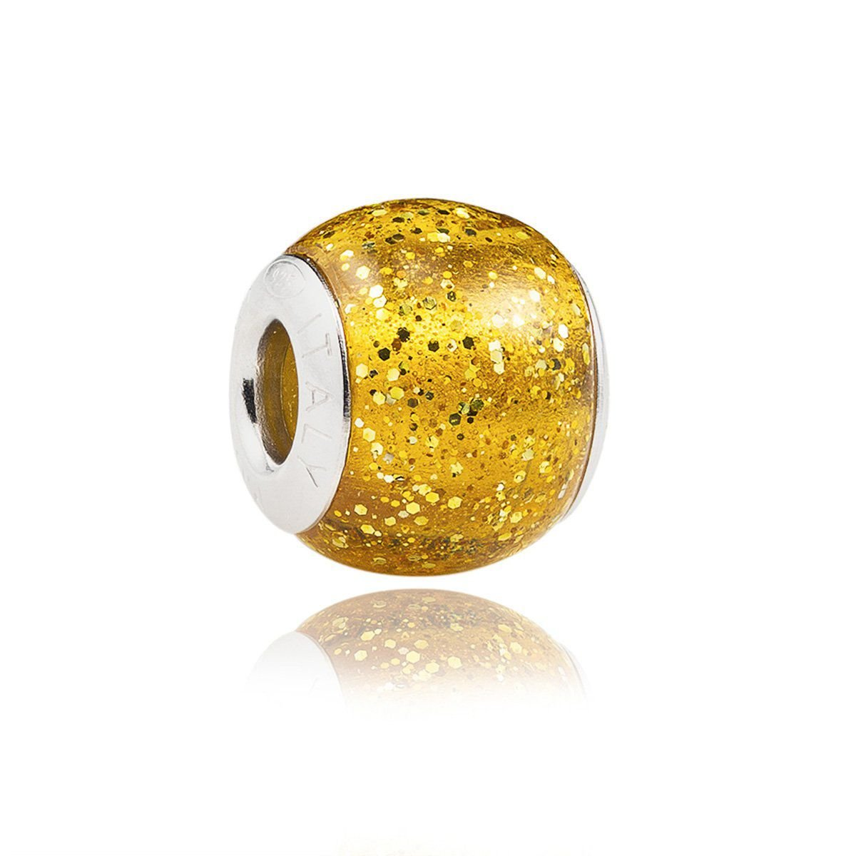 Berloque Murano Dourado Glitter