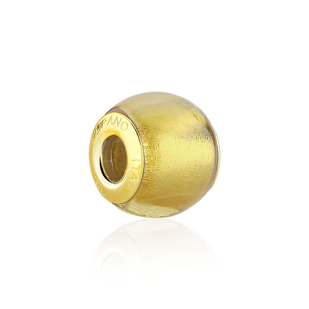 Berloque Murano Dourado Metalizado