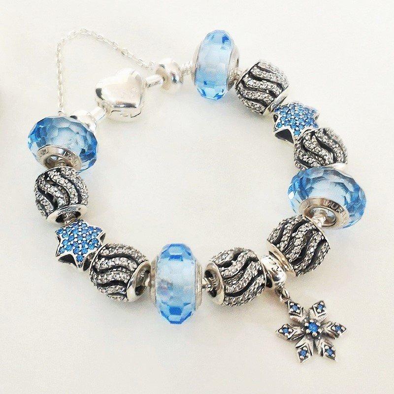 Berloque Murano Facetado Azul Cristal