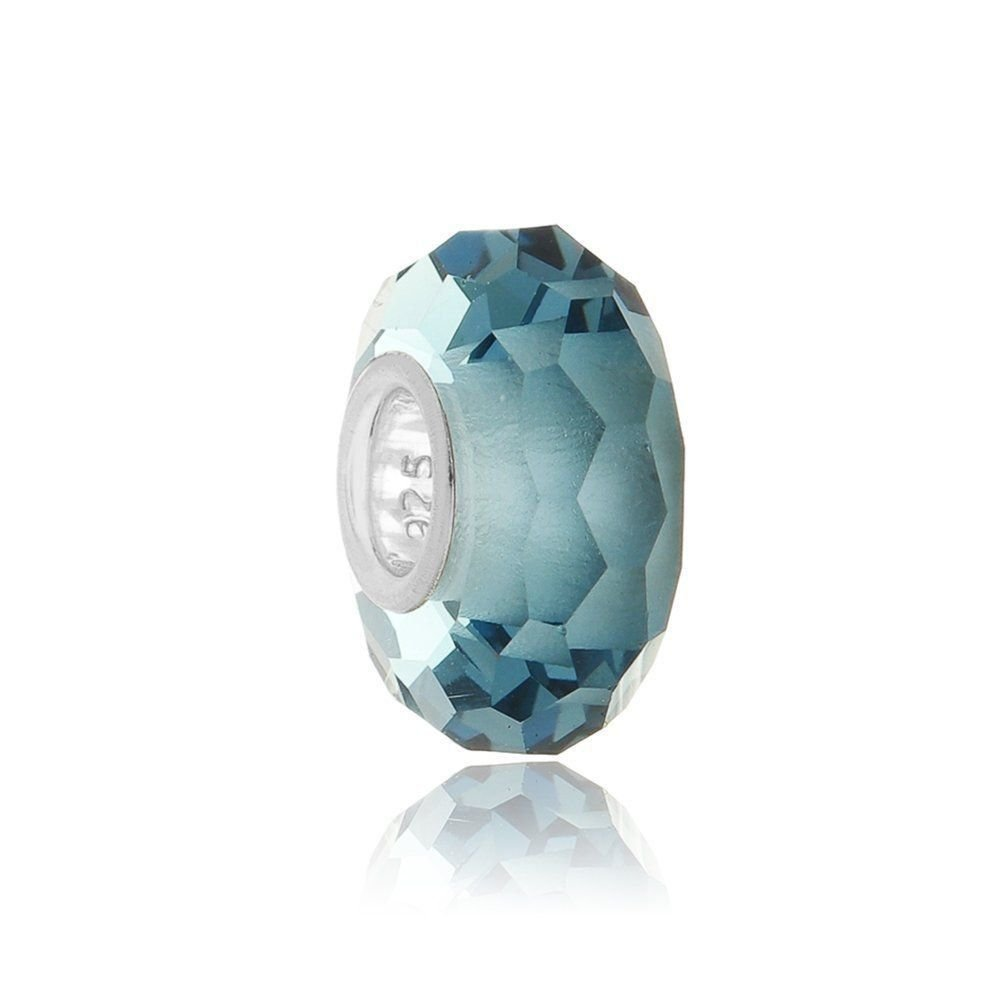 Berloque Murano Facetado Azul Safira