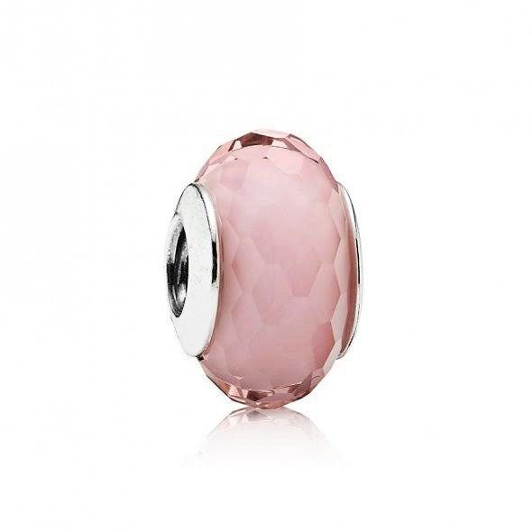 Berloque Murano Facetado Rosa Cristal