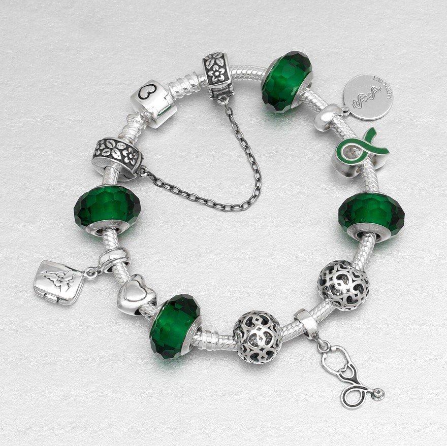Berloque Murano Facetado Verde Esmeralda