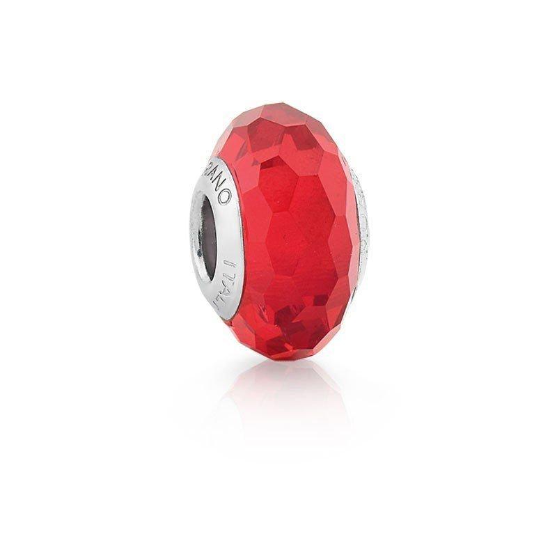 Berloque Murano Facetado Vermelho Cristal