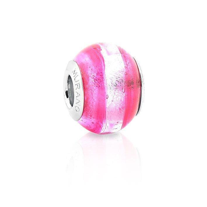 Berloque Murano Pink e Prata